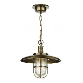 Captain Single Light Outdoor Ceiling Pendant Made From Solid Brass in Antique Brass Finish
