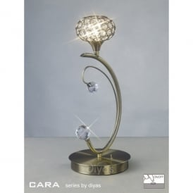 Cara Single Light Halogen Table Lamp In Antique Brass Finish