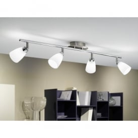 Cariba 4 Light Halogen Ceiling Fitting In Satin Nickel And White Finish