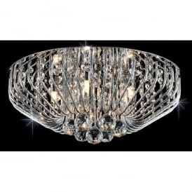 Carlo 5 Light Flush Ceiling Fitting with Crystal Decoration
