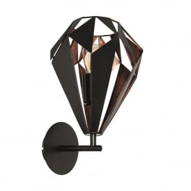 Carlton 1 Wall Light in Black and Copper Finish