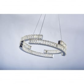 Carousel 2 Light Tiered Dimmable LED Ceiling Pendant in Polished Chrome and Crystal Finish