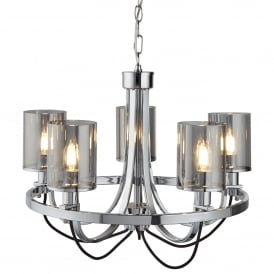 Catalina 5 Light Ceiling Pendant In Polished Chrome Finish With Smokey Glass Shades