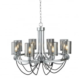 Catalina 8 Light Ceiling Pendant In Polished Chrome Finish With Smokey Glass Shades