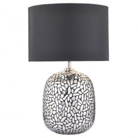 Cazanove Single Light Table Lamp In Silver Finish With Black Satin Shade And Silver Lining