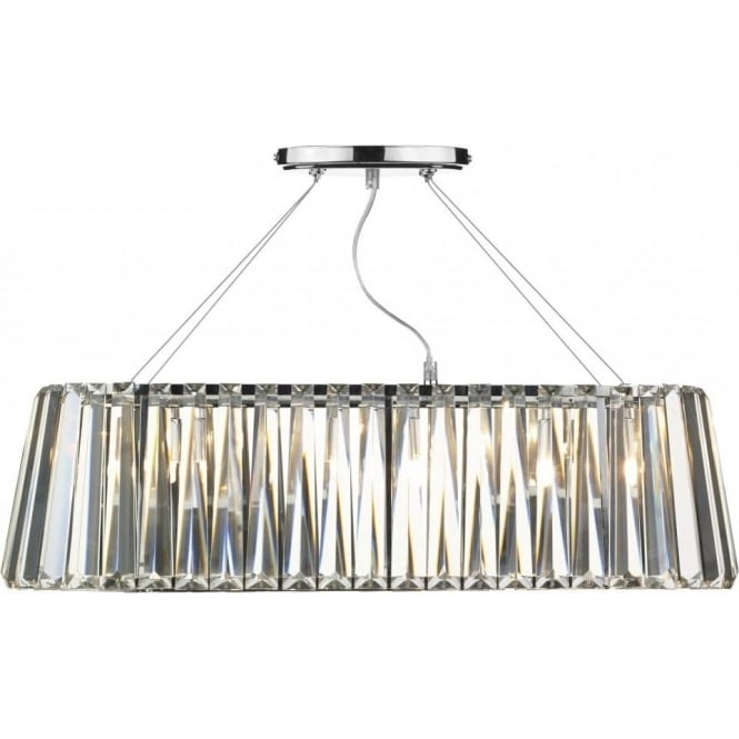 Dar Lighting Cecilia 3 Light Ceiling Fitting in Polished Chrome with Crystal Glass