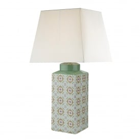 Celeste Single Light Ceramic Table Lamp Base Only In Pale Green And Pink Finish