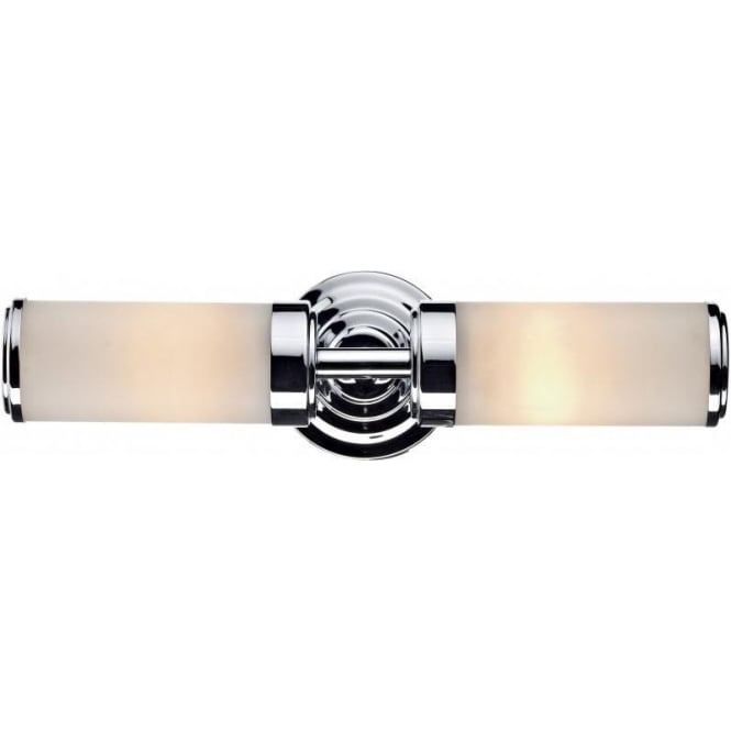 Dar Lighting Century 2 Light Switched Bathroom Wall Fixture in Polished Chrome