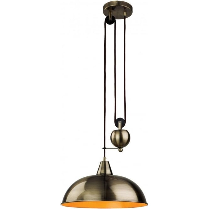Firstlight Century Single Light Rise and Fall Pendant in an Antique Brass Finish