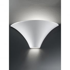 Ceramic Single Light Wall Uplighter With Light Spill At The Base