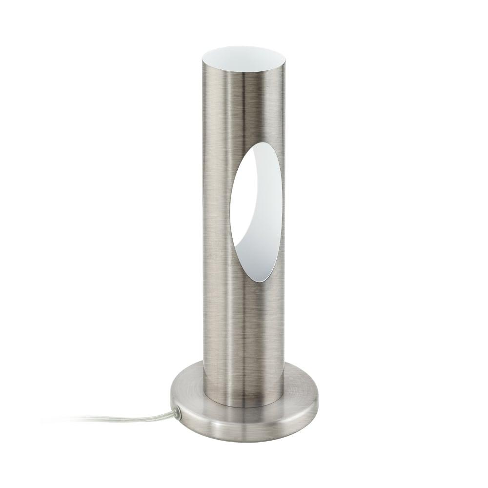 eglo lighting ceratella single light led table lamp in satin nickel and white finish lighting. Black Bedroom Furniture Sets. Home Design Ideas