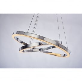 Cerchio 2 Light Dimmable LED Ceiling Pendant in Polished Chrome Finish
