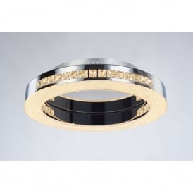 Cerchio Round Single LED Dimmable Flush Ceiling Fitting in Polished Chrome and Crystal Finish