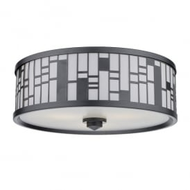 Ceros 3 Light Semi Flush Ceiling Fitting in Dark Matt Pewter Finish with Glass Diffuser