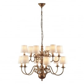 Chamberlain 12 Light Two-Tier Multi-Arm Ceiling Chandelier in Soft Mellow Brass Finish Complete with Marble Shades