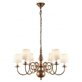 Chamberlain 6 Light Multi-Arm Ceiling Chandelier in Soft Mellow Brass Finish Complete with Marble Silk Shades