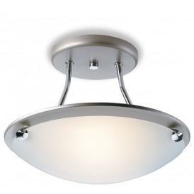 Champagne Single Light Semi Flush Ceiling Fitting in Satin Steel Finish