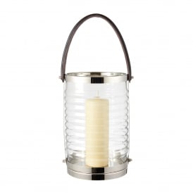 Chandler Lantern in Clear Ribbed Glass and Polished Stainless Steel