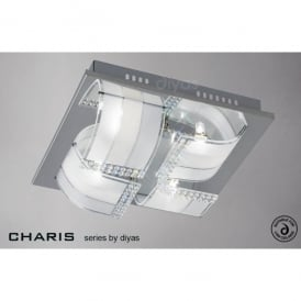 Charis 4 Light Flush Ceiling Fixture in Polished Chrome with Frosted Glass