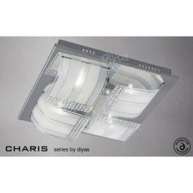 Charis Large 4 Light Ceiling Fixture in Polished Chrome with Frosted Glass
