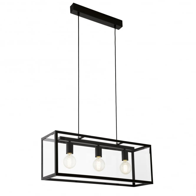 Eglo Lighting Charterhouse 3 Light Steel Ceiling Pendant In Black Finish And Clear Glass