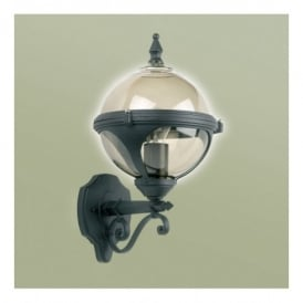 Chatsworth Single Light Outdoor Globe Wall Fitting In Black Finish With Smoked Glass Shade