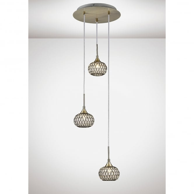 Diyas Chelsie 3 Light Ceiling Pendant In Antique Brass
