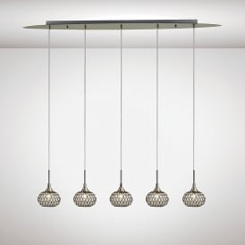 Chelsie 5 Light Ceiling Bar Pendant In Antique Brass Finish