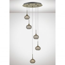 Chelsie 5 Light Ceiling Pendant In Antique Brass Finish