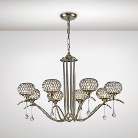 Chelsie 8 Light Multi Arm Ceiling Pendant In Antique Brass Finish