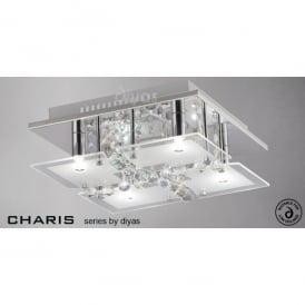 Chisora 4 Light Flush Frosted Ceiling Fitting with Polished Chrome