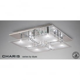 Chisora Large 9 Light Flush Ceiling Fitting in Polished Chrome