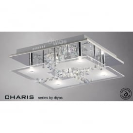 Chisora Medium 5 Light Flush Ceiling Fitting in Polished Chrome
