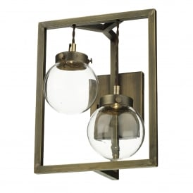 Chiswick 2 LED Wall Fitting in Antique Brass Finish With Clear Glass