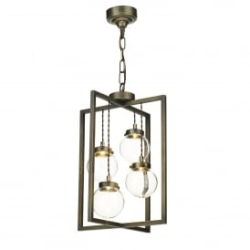 Chiswick 4 LED Ceiling Pendant in Antique Brass Finish with Clear Glass Shades
