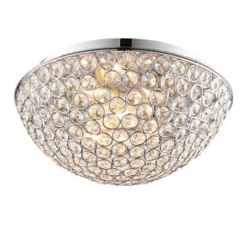 Chryla 3 Light Flush Bathroom Ceiling Fitting In Polished Chrome And Clear Crystal Finish