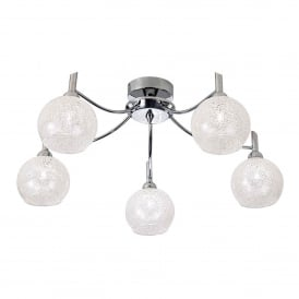 Chrysalis 5 Light Semi Flush Ceiling Fitting In Polished Chrome Finish Glass Shades