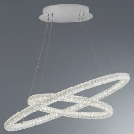 Circle 2 Light LED Ceiling Pendant In Polished Chrome And Crystal Finish