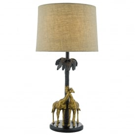 Citadel Single Light Giraffe Table Lamp in Gold and Bronze Finish Complete with Natural Linen Shade