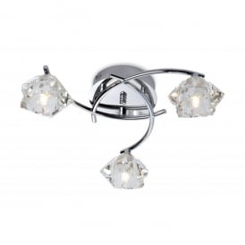 Clara 3 Light Flush Ceiling Fitting in Polished Chrome Finish with Glass Shades