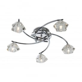 Clara 5 Light Flush Ceiling Fitting with Glass Shades in Polished Chrome Finish