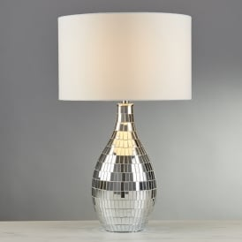 Clayton Single Light Table Lamp With Mirror Tiled Base And White Shade