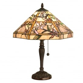 Clematis 2 Light Tiffany Glass Table Lamp In Bronze Finish