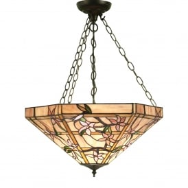 Clematis 3 Light Tiffany Glass Inverted Ceiling Pendant In Bronze Finish