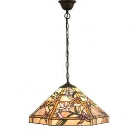 Clematis Single Light Tiffany Glass Ceiling Pendant In Bronze Finish