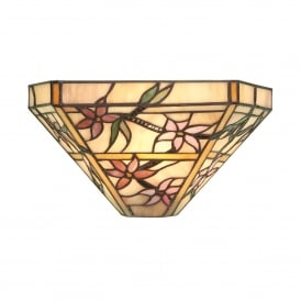 Clematis Single Light Tiffany Glass Wall Fitting In Bronze Finish
