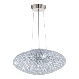 Clemente 3 Light Large Ceiling Pendant In Crystal And Polished Chrome Finish