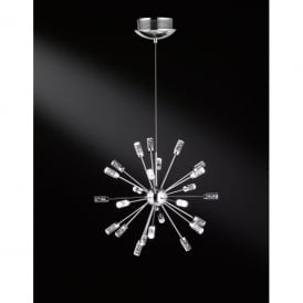 Cleo/Serie 099 LED 24 Light Ceiling Pendant in Polished Chrome Finish with Acrylic Glass