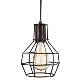 Clipper Single Light Ceiling Pendant In Rustic Brown Finish