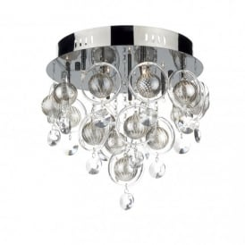 Cloud 9 Light Semi-Flush Ceiling Fixture in a Black Chrome Finish